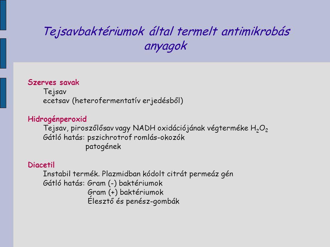 Tejsavbaktériumok által termelt antimikrobás anyagok Szerves savak Tejsav ecetsav (heterofermentatív erjedésből) Hidrogénperoxid Tejsav, piroszőlősav