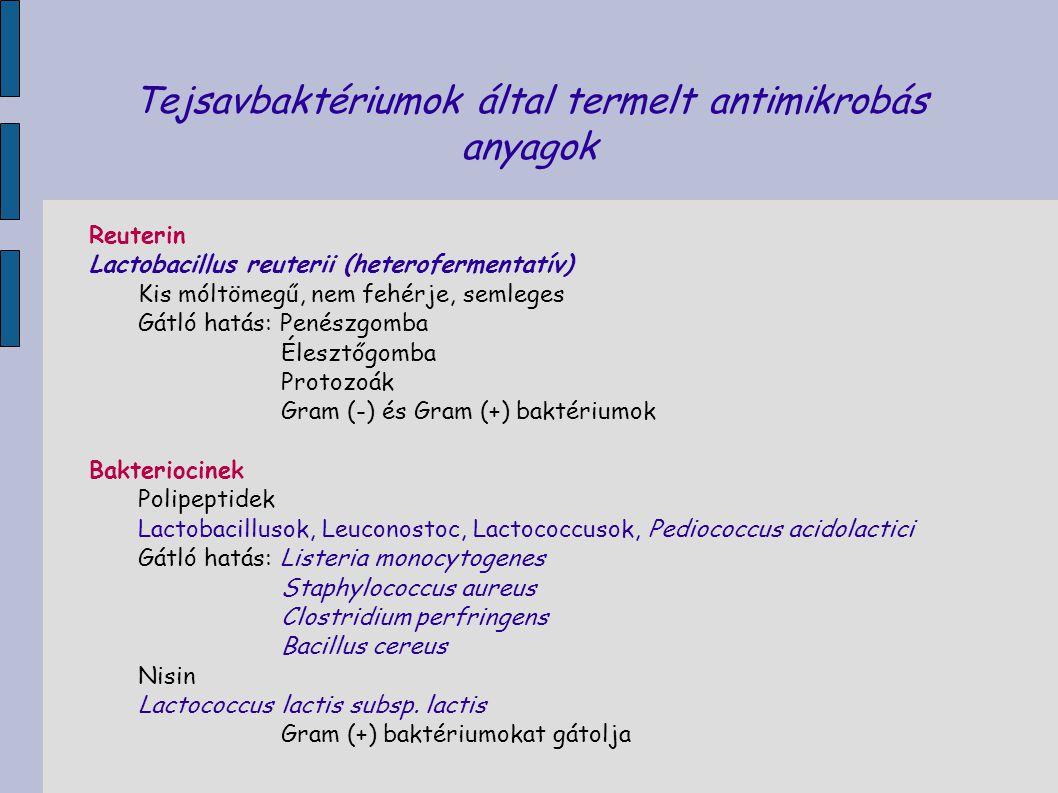 Tejsavbaktériumok által termelt antimikrobás anyagok Reuterin Lactobacillus reuterii (heterofermentatív) Kis móltömegű, nem fehérje, semleges Gátló ha