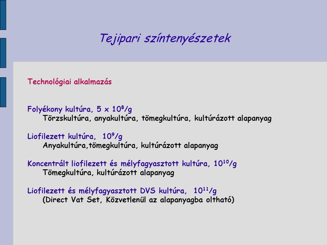 Tejipari színtenyészetek Technológiai alkalmazás Folyékony kultúra, 5 x 10 8 /g Törzskultúra, anyakultúra, tömegkultúra, kultúrázott alapanyag Liofile