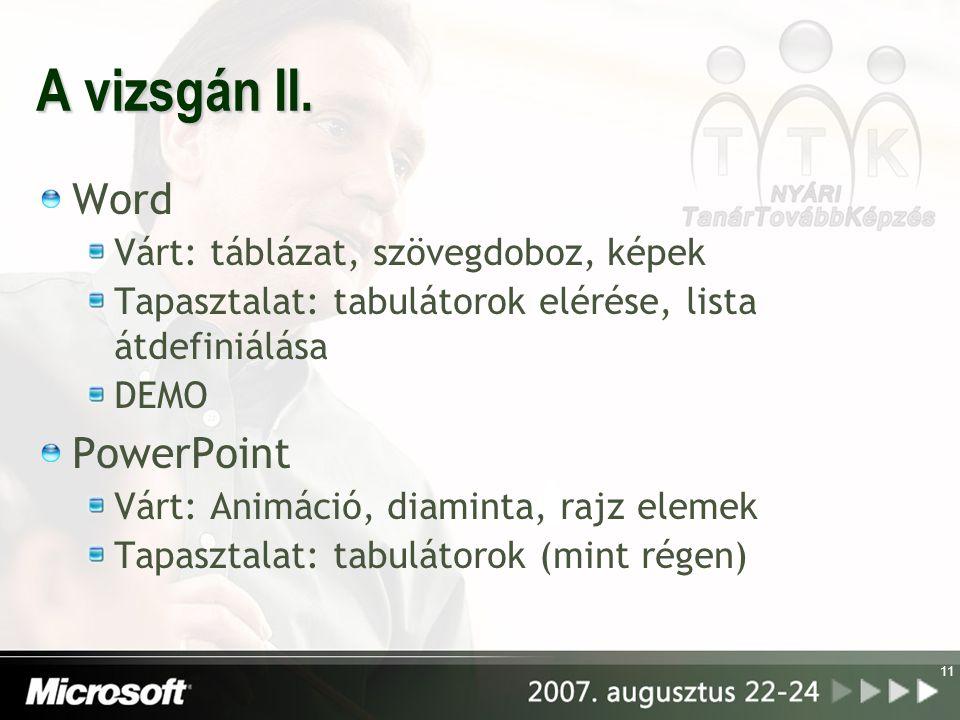 A vizsgán II. Word Várt: táblázat, szövegdoboz, képek Tapasztalat: tabulátorok elérése, lista átdefiniálása DEMO PowerPoint Várt: Animáció, diaminta,
