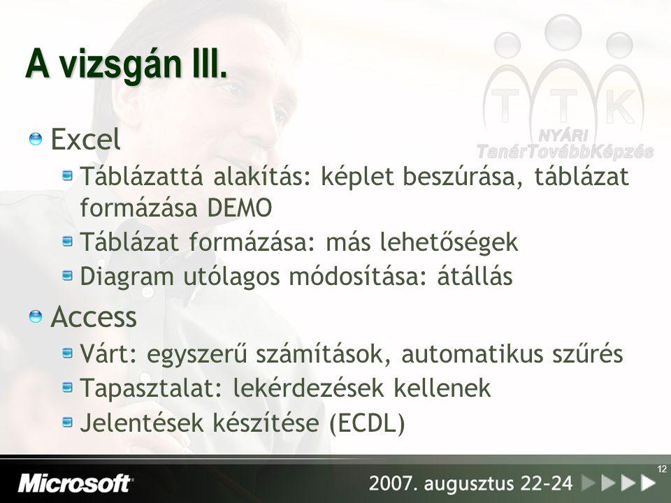 A vizsgán III. Excel Táblázattá alakítás: képlet beszúrása, táblázat formázása DEMO Táblázat formázása: más lehetőségek Diagram utólagos módosítása: á