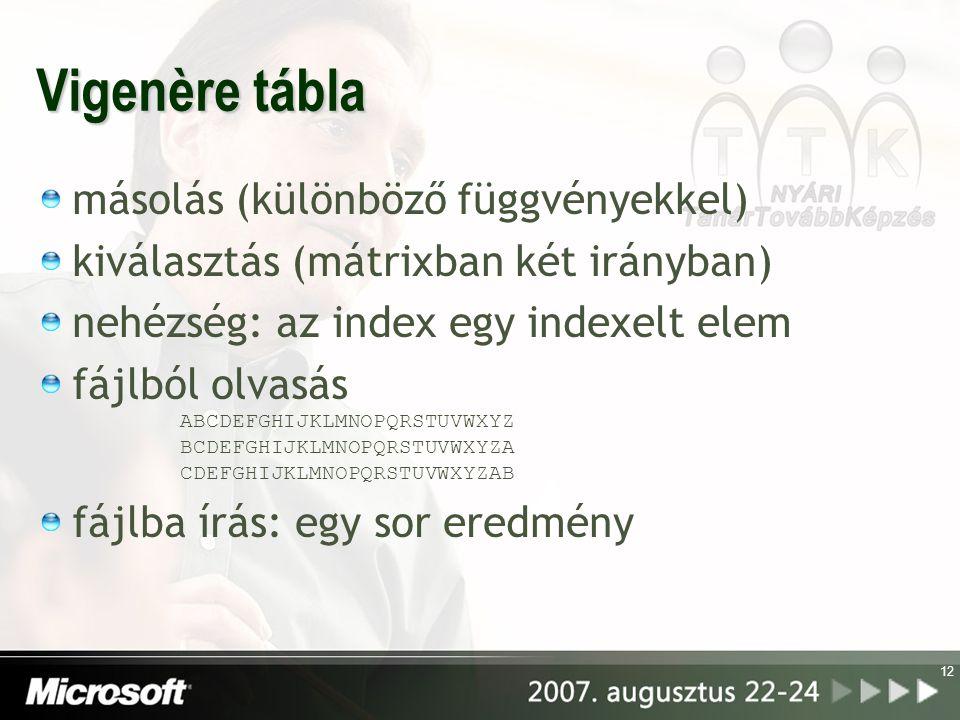 12 Vigenère tábla másolás (különböző függvényekkel) kiválasztás (mátrixban két irányban) nehézség: az index egy indexelt elem fájlból olvasás ABCDEFGHIJKLMNOPQRSTUVWXYZ BCDEFGHIJKLMNOPQRSTUVWXYZA CDEFGHIJKLMNOPQRSTUVWXYZAB fájlba írás: egy sor eredmény