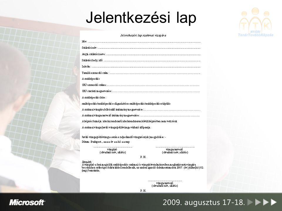 Szakmai vizsga Vizsga bejelentés, szaktárca (NSZFI) Tételigénylés Vizsgarend (a vizsgaszervező által készített azon dokumentum, mely alkalmas a szakmai vizsga, a szakmai vizsgarészek egyértelmű azonosítására, és bemutatja a vizsgatevékenységeket, azok sorrendjét és időpontját)
