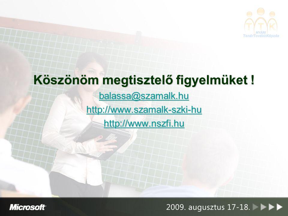 Köszönöm megtisztelő figyelmüket ! balassa@szamalk.hu http://www.szamalk-szki-hu http://www.nszfi.hu