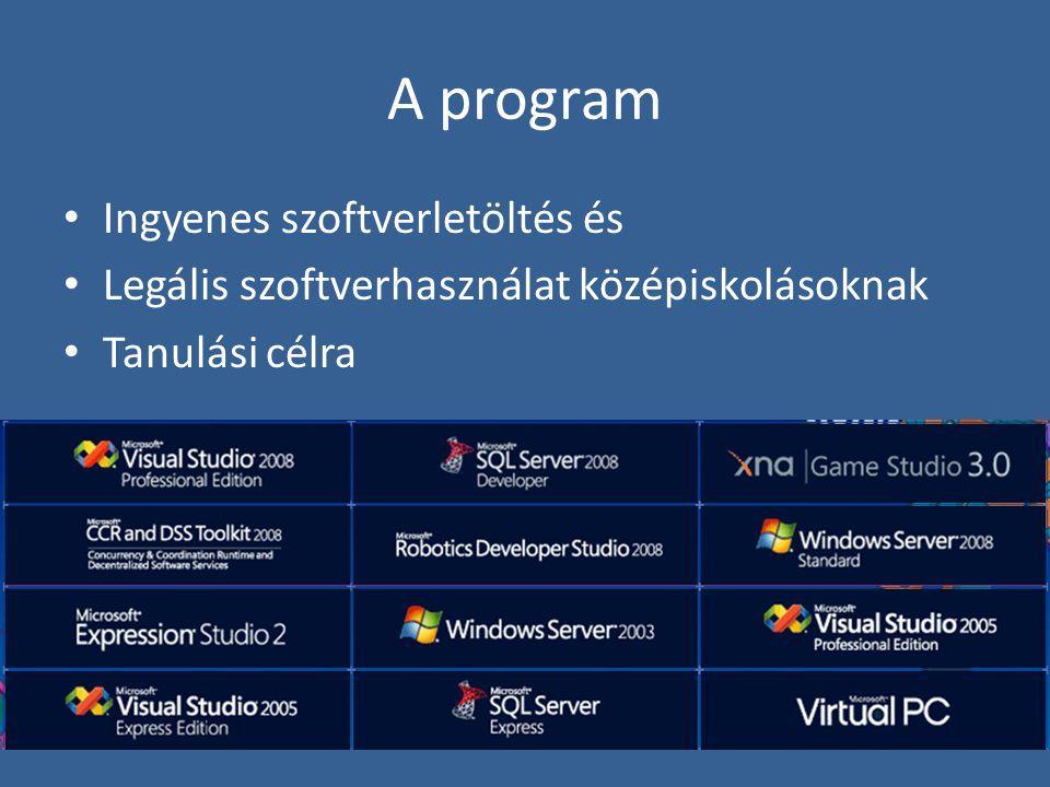 A program Ingyenes szoftverletöltés és Legális szoftverhasználat középiskolásoknak Tanulási célra