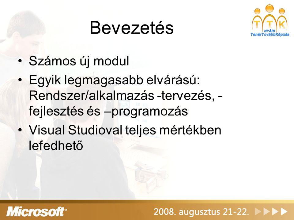 Bevezetés Számos új modul Egyik legmagasabb elvárású: Rendszer/alkalmazás -tervezés, - fejlesztés és –programozás Visual Studioval teljes mértékben lefedhető