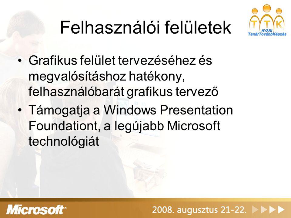 Felhasználói felületek Grafikus felület tervezéséhez és megvalósításhoz hatékony, felhasználóbarát grafikus tervező Támogatja a Windows Presentation Foundationt, a legújabb Microsoft technológiát