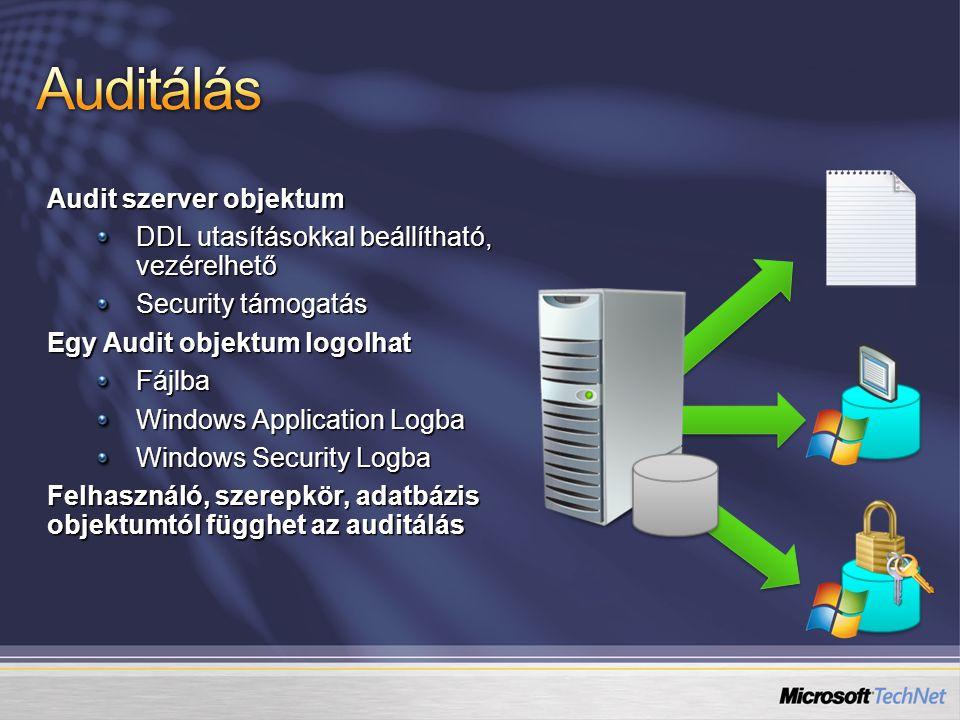 Audit szerver objektum DDL utasításokkal beállítható, vezérelhető Security támogatás Egy Audit objektum logolhat Fájlba Windows Application Logba Windows Security Logba Felhasználó, szerepkör, adatbázis objektumtól függhet az auditálás