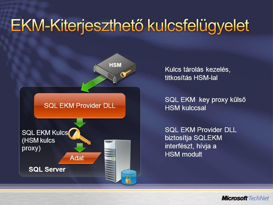 Kulcs tárolás kezelés, titkosítás HSM-lal SQL EKM key proxy kűlső HSM kulccsal SQL EKM Provider DLL biztosítja SQLEKM interfészt, hívja a HSM modult SQL EKM Provider DLL SQL EKM Kulcs (HSM kulcs proxy) Adat SQL Server HSM