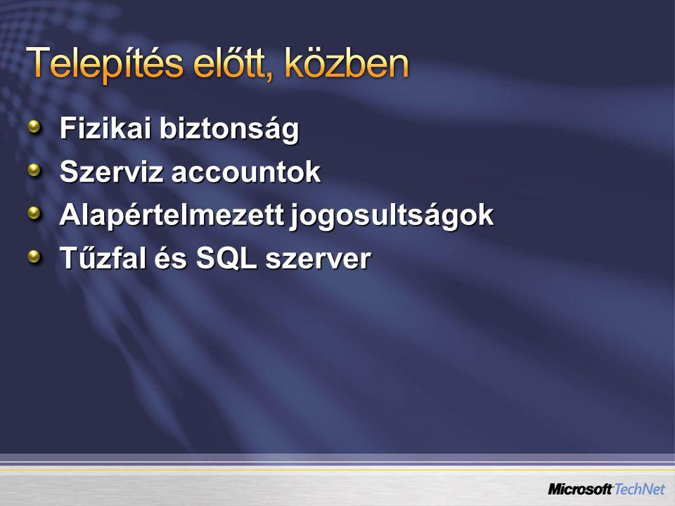 Fizikai biztonság Szerviz accountok Alapértelmezett jogosultságok Tűzfal és SQL szerver