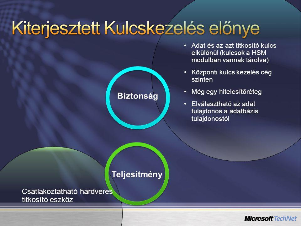 Csatlakoztatható hardveres titkosító eszköz Adat és az azt titkosító kulcs elkülönül (kulcsok a HSM modulban vannak tárolva) Központi kulcs kezelés cég szinten Még egy hitelesítőréteg Elválasztható az adat tulajdonos a adatbázis tulajdonostól