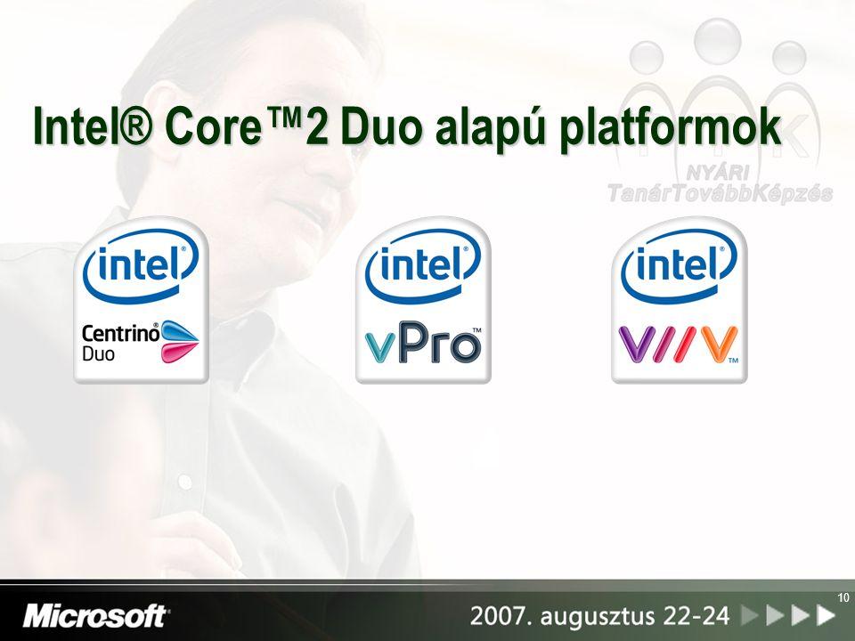 11 March 2003 May 2007Jan 2006 Intel® Centrino™ mobiltechnológia Intel® Centrino® processzor technológia Intel® Centrino® Duo processzor technológia Intel® Centrino® Pro processzor technológia Régi és új mobilplatformok