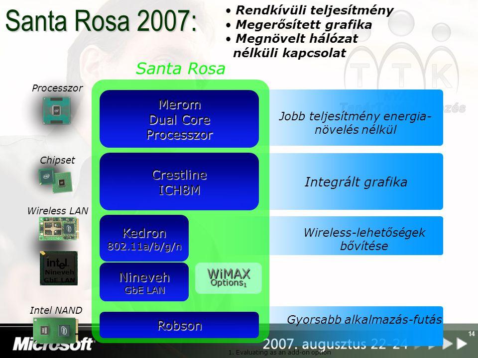 14 Santa Rosa Merom Dual Core Processzor CrestlineICH8M Kedron802.11a/b/g/n Jobb teljesítmény energia- növelés nélkül Robson WiMAX Options 1 Integrált