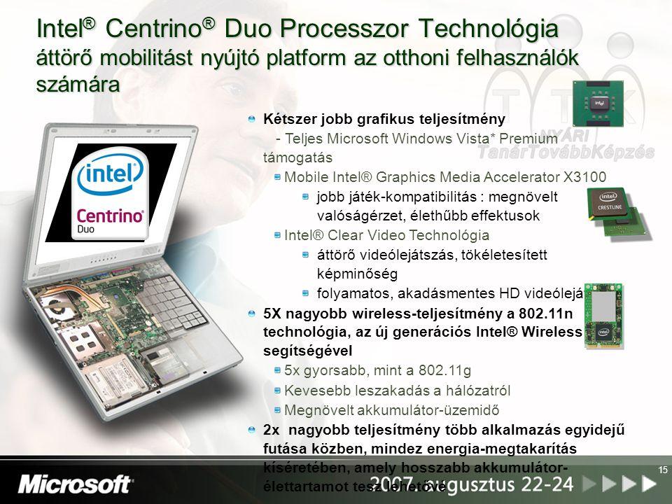 15 Kétszer jobb grafikus teljesítmény - Teljes Microsoft Windows Vista* Premium támogatás Mobile Intel® Graphics Media Accelerator X3100 jobb játék-ko