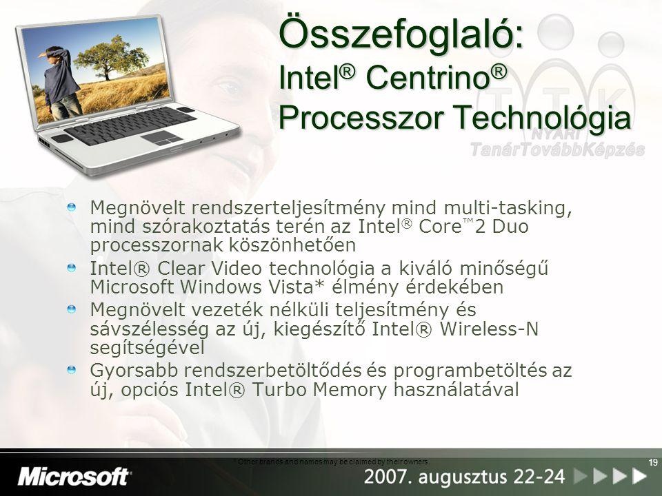 19 Összefoglaló: Intel ® Centrino ® Processzor Technológia Megnövelt rendszerteljesítmény mind multi-tasking, mind szórakoztatás terén az Intel ® Core