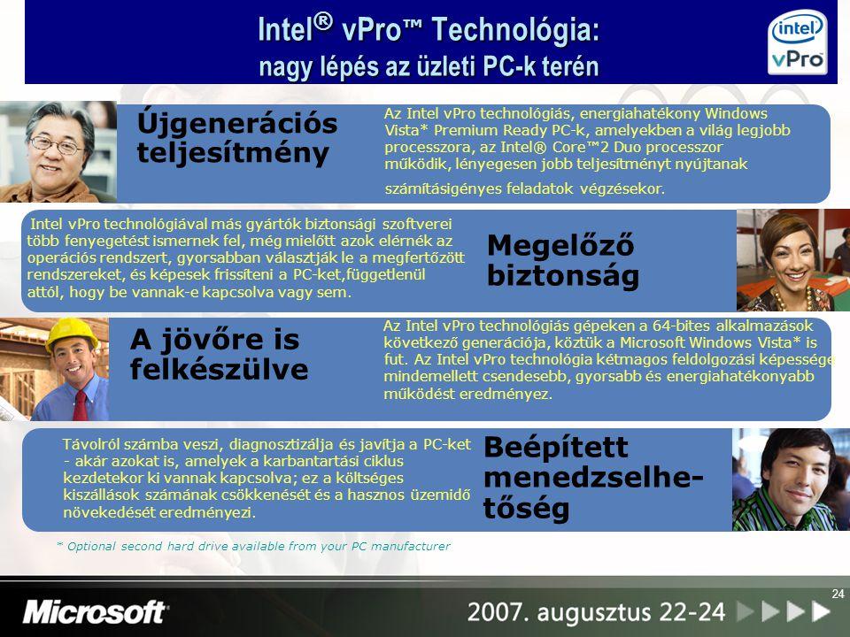 25 Intel ® vPro™ technológia vállalkozásoknak Intel ® Core™2 Duo processzor - E6x00 vagy E6x50 Intel ® Q965 Express lapkakészlet Intel ® 82566DM Gigabit hálózati csatoló Intel platformszotverek Alapvető Intel platformtechnológiák