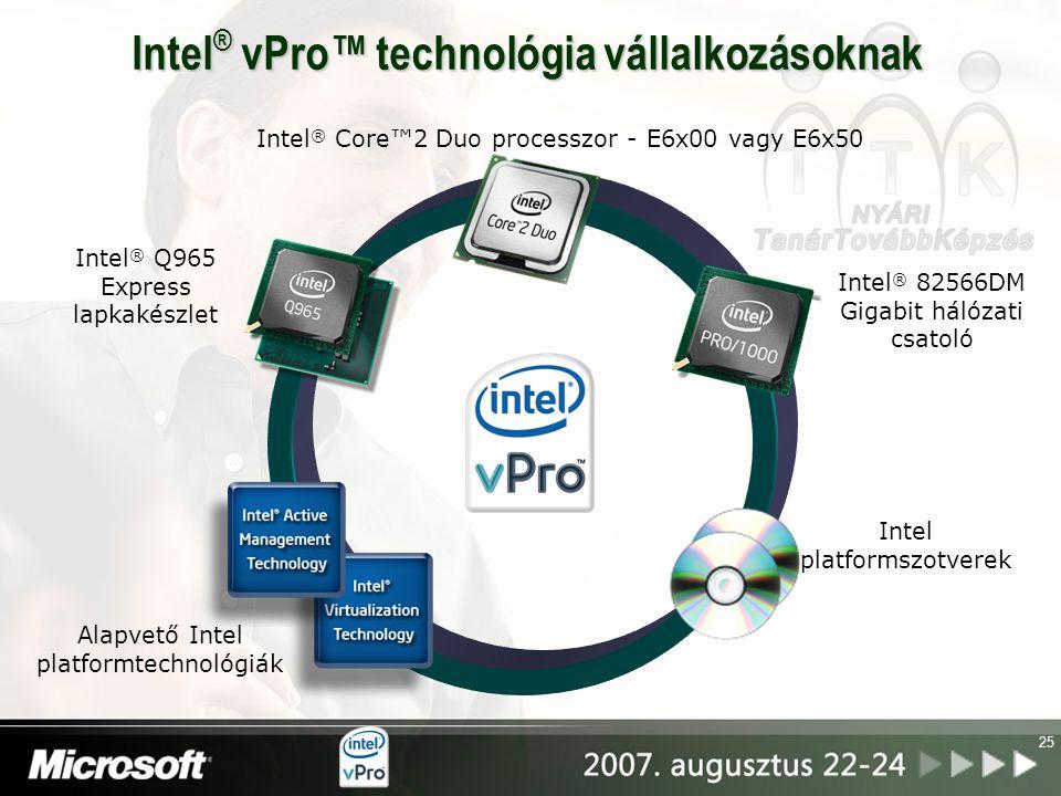 25 Intel ® vPro™ technológia vállalkozásoknak Intel ® Core™2 Duo processzor - E6x00 vagy E6x50 Intel ® Q965 Express lapkakészlet Intel ® 82566DM Gigab