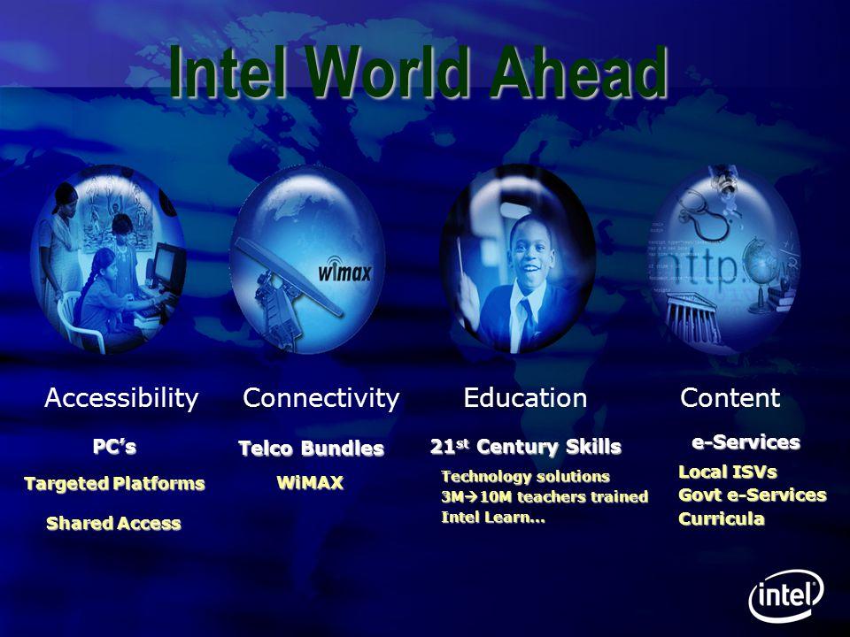 30 Intel World Ahead AccessibilityConnectivityEducationContent 21 st Century Skills Technology solutions Technology solutions 3M  10M teachers traine