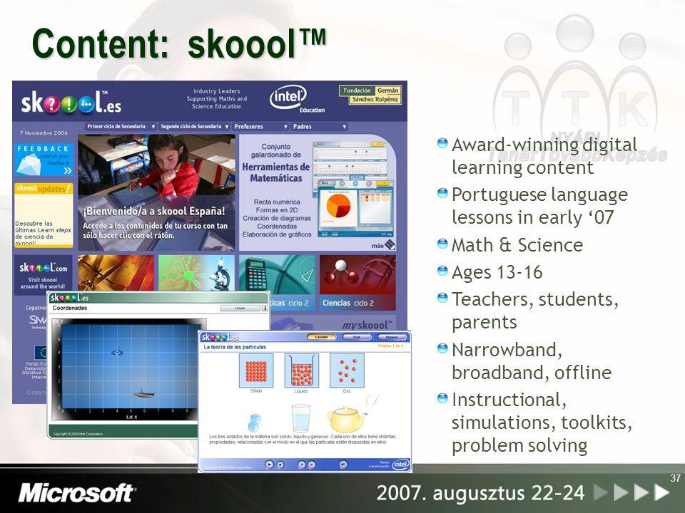 38 További információk: A rendezvény honlapja: http://www.microsoft.com/hun/tantov2007 http://www.intel.com http://www.intel.com/intel/worldahead/ http://www.skoool.com