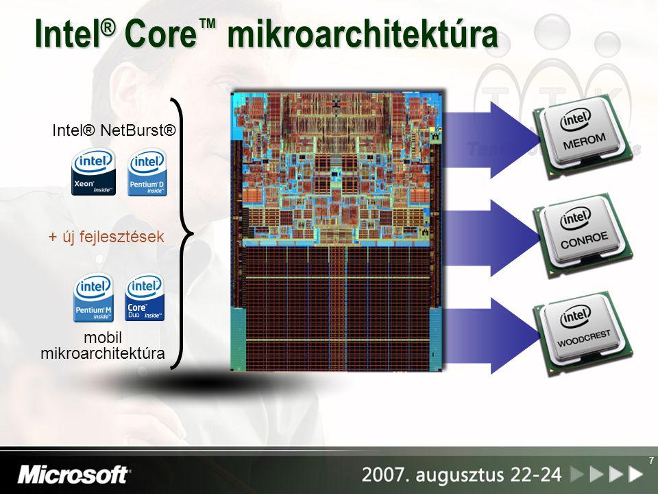 8 f Intel® Wide Dynamic Execution Intel® Advanced Digital Media Boost Intel® Smart Memory Access Intel® Advanced Smart Cache Intel® Intelligent Power Capability Megnöveli a teljesítményt és a hatékonyságot, mivel mindkét mag képes négy teljes utasítást végrehajtani egy óraciklus alatt.