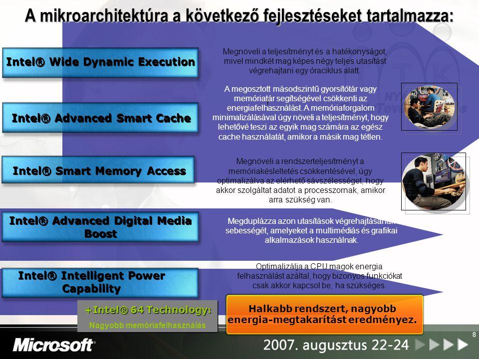 8 f Intel® Wide Dynamic Execution Intel® Advanced Digital Media Boost Intel® Smart Memory Access Intel® Advanced Smart Cache Intel® Intelligent Power