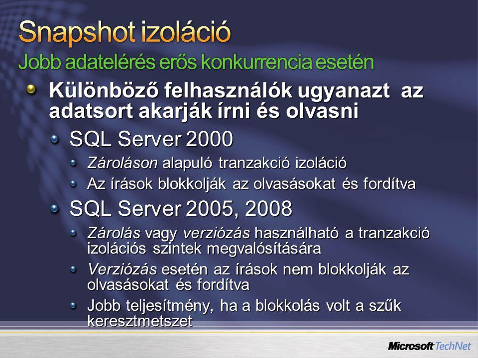 Különböző felhasználók ugyanazt az adatsort akarják írni és olvasni SQL Server 2000 Zároláson alapuló tranzakció izoláció Az írások blokkolják az olvasásokat és fordítva SQL Server 2005, 2008 Zárolás vagy verziózás használható a tranzakció izolációs szintek megvalósítására Verziózás esetén az írások nem blokkolják az olvasásokat és fordítva Jobb teljesítmény, ha a blokkolás volt a szűk keresztmetszet