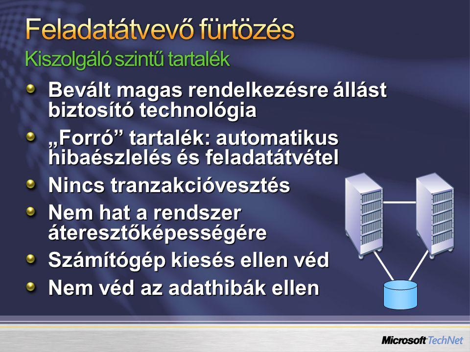 Magas rendelkezésre állás ≠ fürtözés A magas rendelkezésre állás biztosítása összetett feladat Több technológia együttes alkalmazására van szükség Az SQL Server technológiái az adatbáziskezelő magas rendelkezésre állását biztosítják A technológia többi elemére (hálózat, storage, légkondi, operációs rendszer, címtár, stb.) is oda kell figyeljünk Környezeti, emberi, szervezeti, szabályozási, eljárási tényezőket is figyelembe kell vennünk
