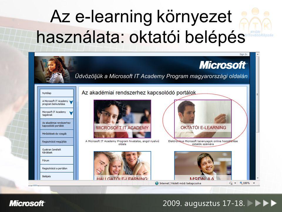 Az e-learning környezet használata: oktatói belépés
