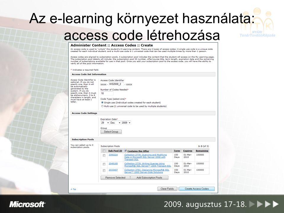Az e-learning környezet használata: access code létrehozása