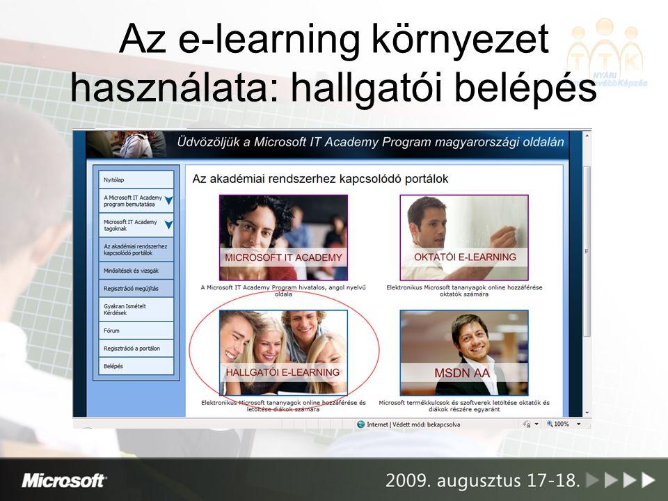 Az e-learning környezet használata: hallgatói belépés