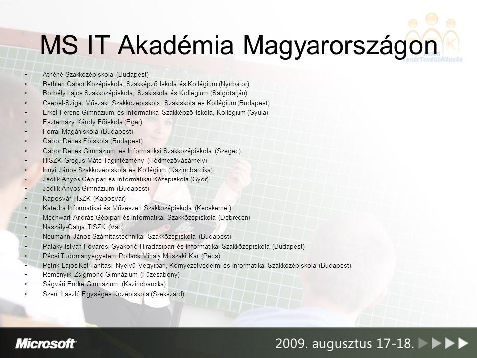 MS IT Akadémia Magyarországon Új támogatási rendszer –Az IT Akadémiák támogatását a Microsoft Magyarország megbízása alapján a Hálózati Tudás Terjesztéséért Programiroda (HTTP) Alapítvány végzi –HTTP Alapítvány: több éves támogatói tapasztalat a hasonló jellegű Cisco Hálózati Akadémia programban –Új magyar nyelvű akadémiai portál –Hozzáadott szolgáltatások Help desk Tanári segédanyagok OKJ harmonizáció