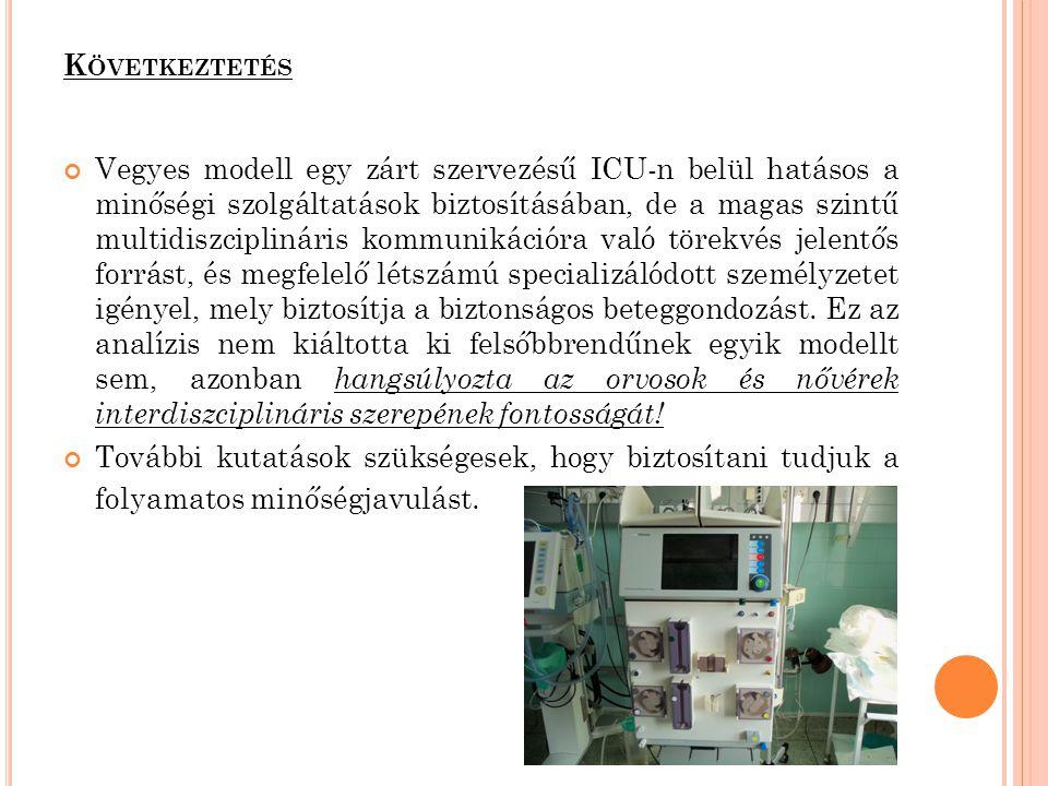 K ÖVETKEZTETÉS Vegyes modell egy zárt szervezésű ICU-n belül hatásos a minőségi szolgáltatások biztosításában, de a magas szintű multidiszciplináris k