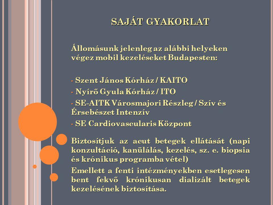 SAJÁT GYAKORLAT Állomásunk jelenleg az alábbi helyeken végez mobil kezeléseket Budapesten: Szent János Kórház / KAITO Szent János Kórház / KAITO Nyírő