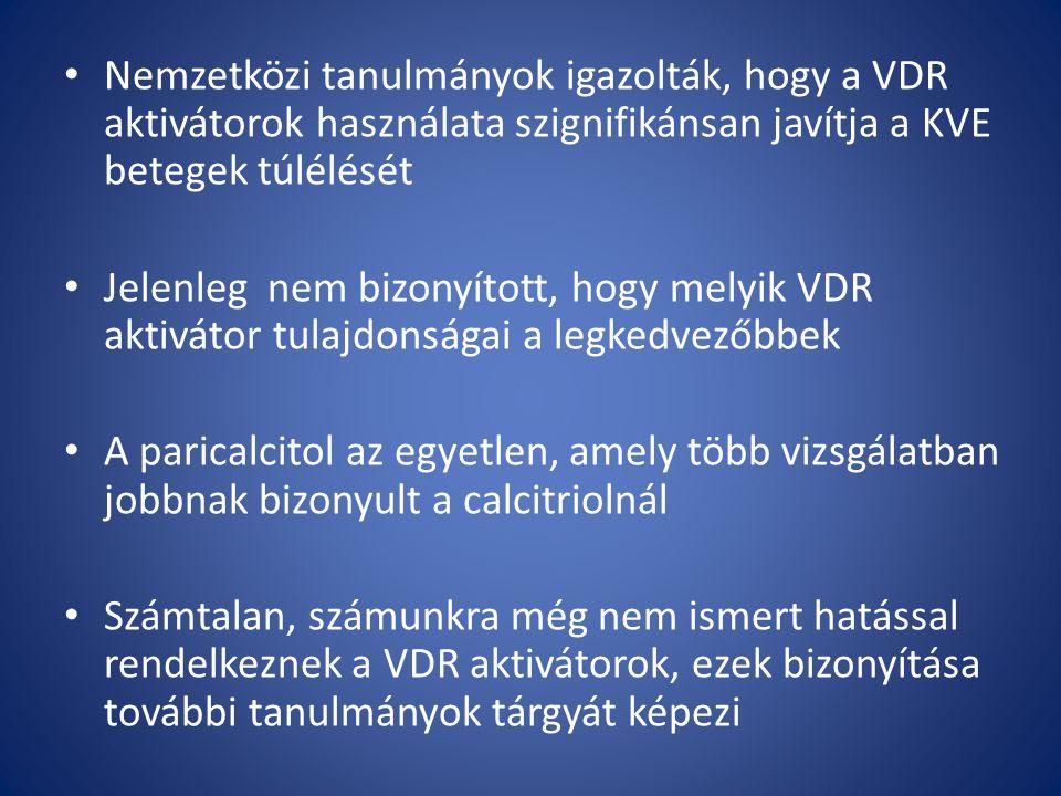 Nemzetközi tanulmányok igazolták, hogy a VDR aktivátorok használata szignifikánsan javítja a KVE betegek túlélését Jelenleg nem bizonyított, hogy melyik VDR aktivátor tulajdonságai a legkedvezőbbek A paricalcitol az egyetlen, amely több vizsgálatban jobbnak bizonyult a calcitriolnál Számtalan, számunkra még nem ismert hatással rendelkeznek a VDR aktivátorok, ezek bizonyítása további tanulmányok tárgyát képezi