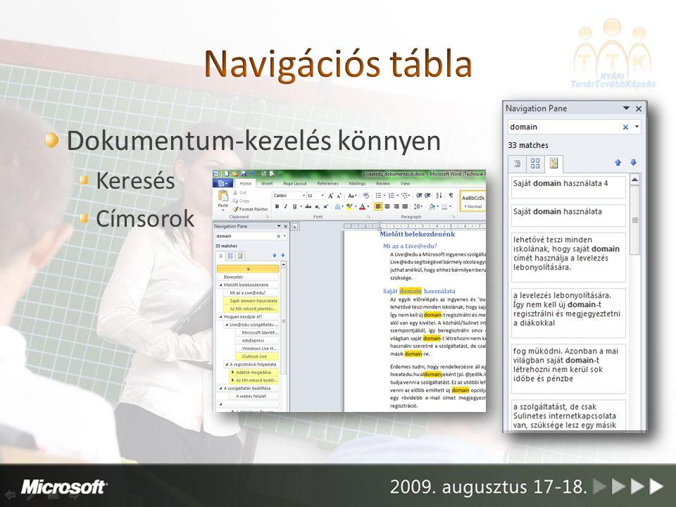 Dokumentum-kezelés könnyen Keresés Címsorok
