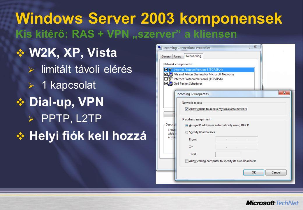 """Windows Server 2003 komponensek Kis kitérő: RAS + VPN """"szerver a kliensen   W2K, XP, Vista   limitált távoli elérés   1 kapcsolat   Dial-up, VPN   PPTP, L2TP   Helyi fiók kell hozzá"""