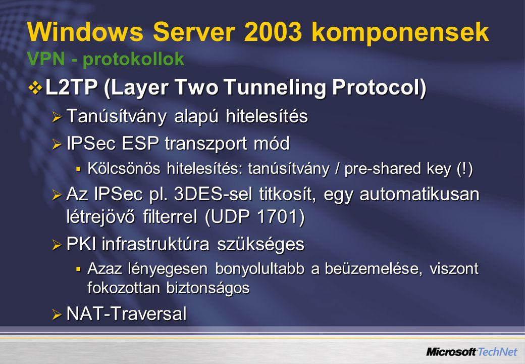  L2TP (Layer Two Tunneling Protocol)  Tanúsítvány alapú hitelesítés  IPSec ESP transzport mód  Kölcsönös hitelesítés: tanúsítvány / pre-shared key (!)  Az IPSec pl.