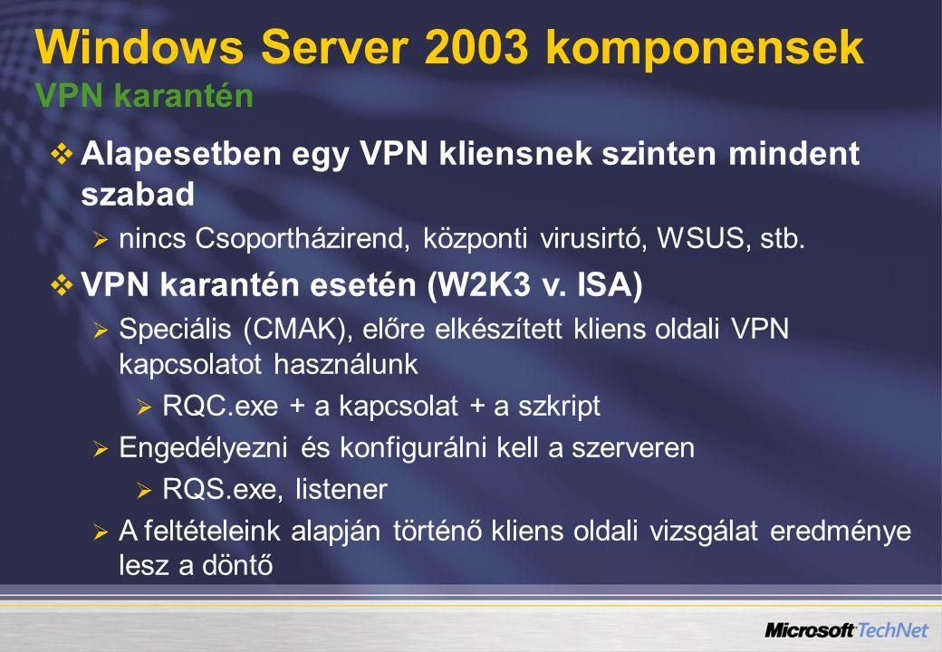  Alapesetben egy VPN kliensnek szinten mindent szabad  nincs Csoportházirend, központi virusirtó, WSUS, stb.