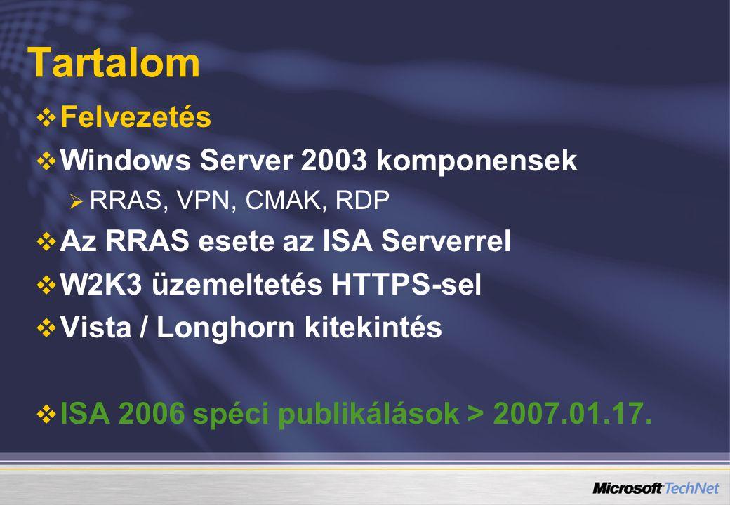 Tartalom   Felvezetés   Windows Server 2003 komponensek   RRAS, VPN, CMAK, RDP   Az RRAS esete az ISA Serverrel   W2K3 üzemeltetés HTTPS-sel   Vista / Longhorn kitekintés   ISA 2006 spéci publikálások > 2007.01.17.