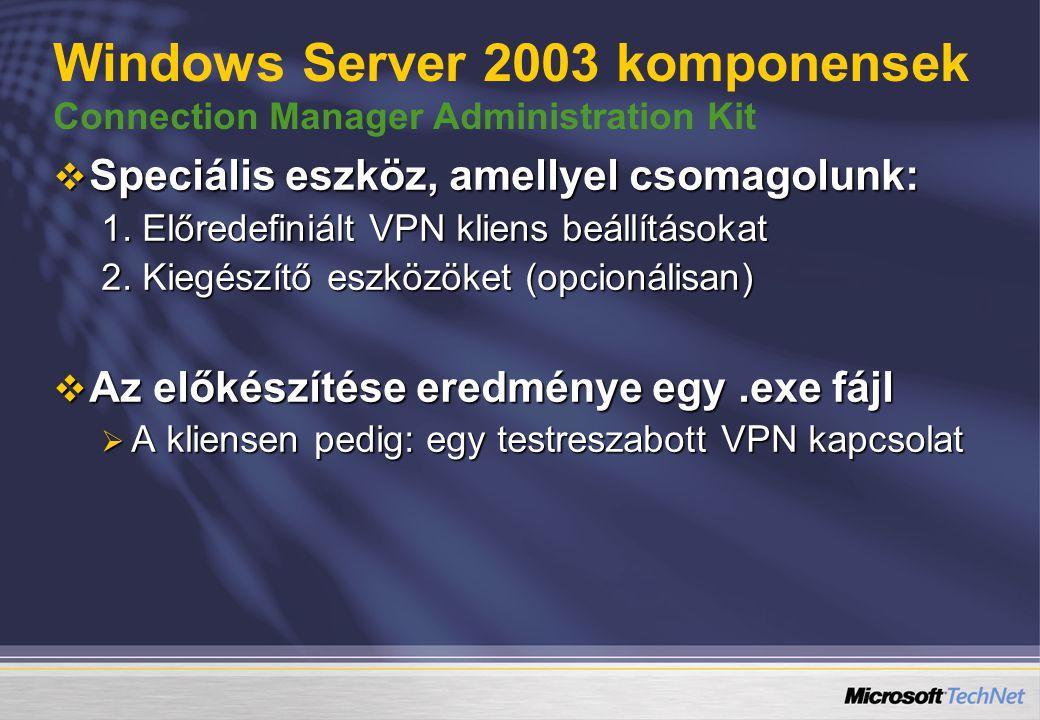 Windows Server 2003 komponensek Connection Manager Administration Kit  Speciális eszköz, amellyel csomagolunk: 1.