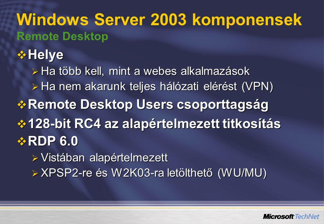 Windows Server 2003 komponensek Remote Desktop  Helye  Ha több kell, mint a webes alkalmazások  Ha nem akarunk teljes hálózati elérést (VPN)  Remote Desktop Users csoporttagság  128-bit RC4 az alapértelmezett titkosítás  RDP 6.0  Vistában alapértelmezett  XPSP2-re és W2K03-ra letölthető (WU/MU)