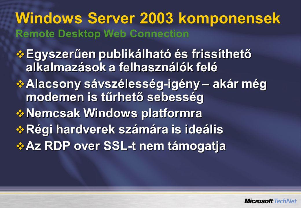 Windows Server 2003 komponensek Remote Desktop Web Connection  Egyszerűen publikálható és frissíthető alkalmazások a felhasználók felé  Alacsony sávszélesség-igény – akár még modemen is tűrhető sebesség  Nemcsak Windows platformra  Régi hardverek számára is ideális  Az RDP over SSL-t nem támogatja
