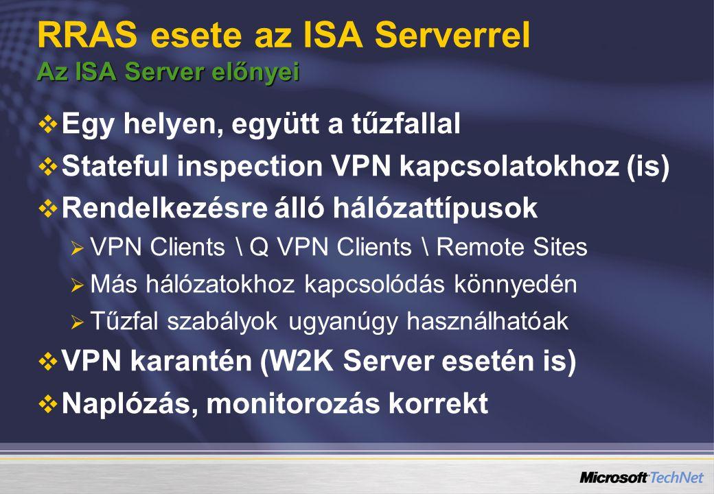 Az ISA Server előnyei RRAS esete az ISA Serverrel Az ISA Server előnyei   Egy helyen, együtt a tűzfallal   Stateful inspection VPN kapcsolatokhoz (is)   Rendelkezésre álló hálózattípusok   VPN Clients \ Q VPN Clients \ Remote Sites   Más hálózatokhoz kapcsolódás könnyedén   Tűzfal szabályok ugyanúgy használhatóak   VPN karantén (W2K Server esetén is)   Naplózás, monitorozás korrekt