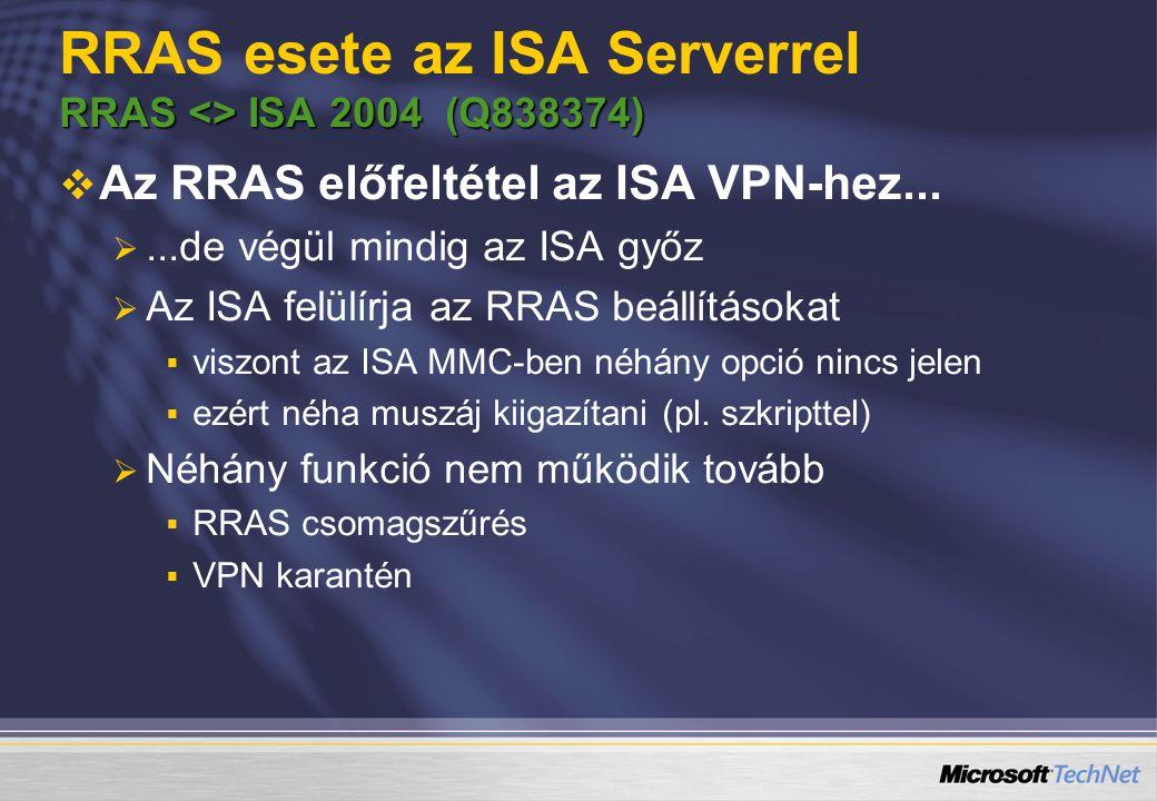 RRAS <> ISA 2004 (Q838374) RRAS esete az ISA Serverrel RRAS <> ISA 2004 (Q838374)   Az RRAS előfeltétel az ISA VPN-hez...