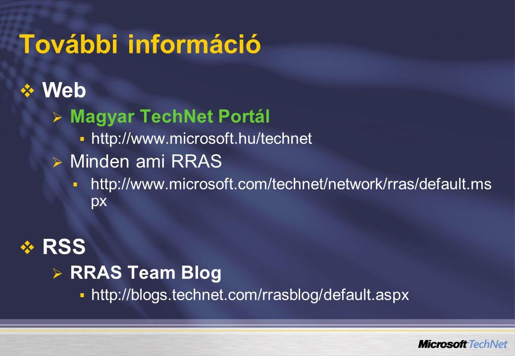 További információ   Web   Magyar TechNet Portál   http://www.microsoft.hu/technet   Minden ami RRAS   http://www.microsoft.com/technet/network/rras/default.ms px   RSS   RRAS Team Blog   http://blogs.technet.com/rrasblog/default.aspx