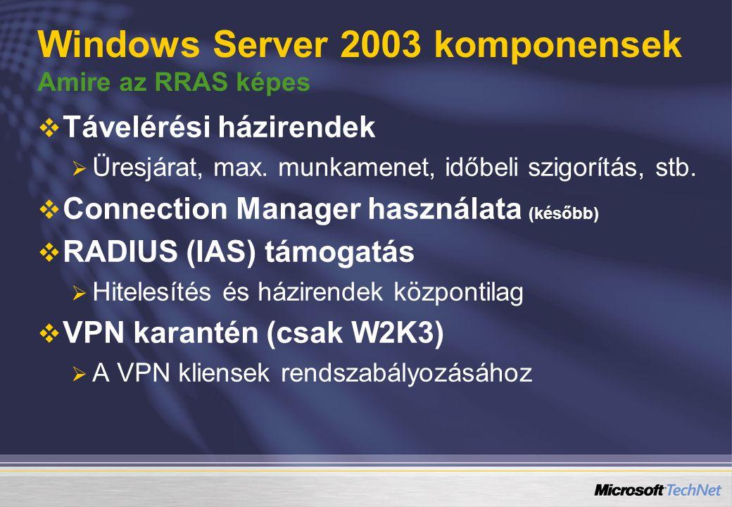 Windows Server 2003 komponensek Amire az RRAS képes   Távelérési házirendek   Üresjárat, max.