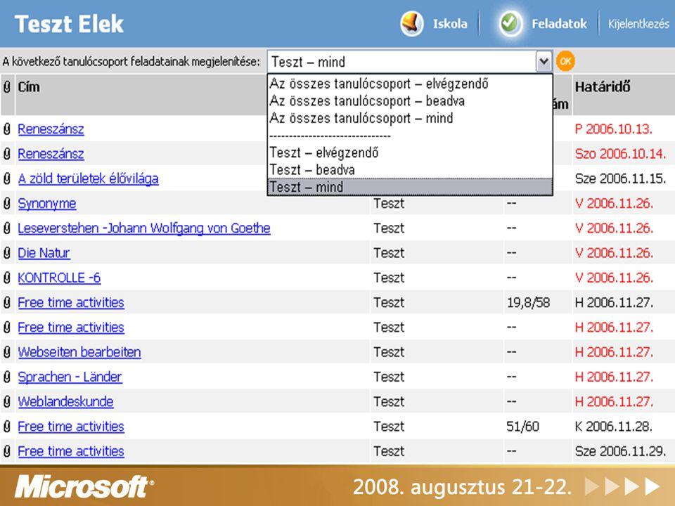 Class Server portál tanulói nézet feladatok kezelése felület