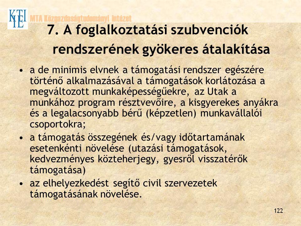 122 MTA Közgazdaságtudományi Intézet 7. A foglalkoztatási szubvenciók rendszerének gyökeres átalakítása a de minimis elvnek a támogatási rendszer egés