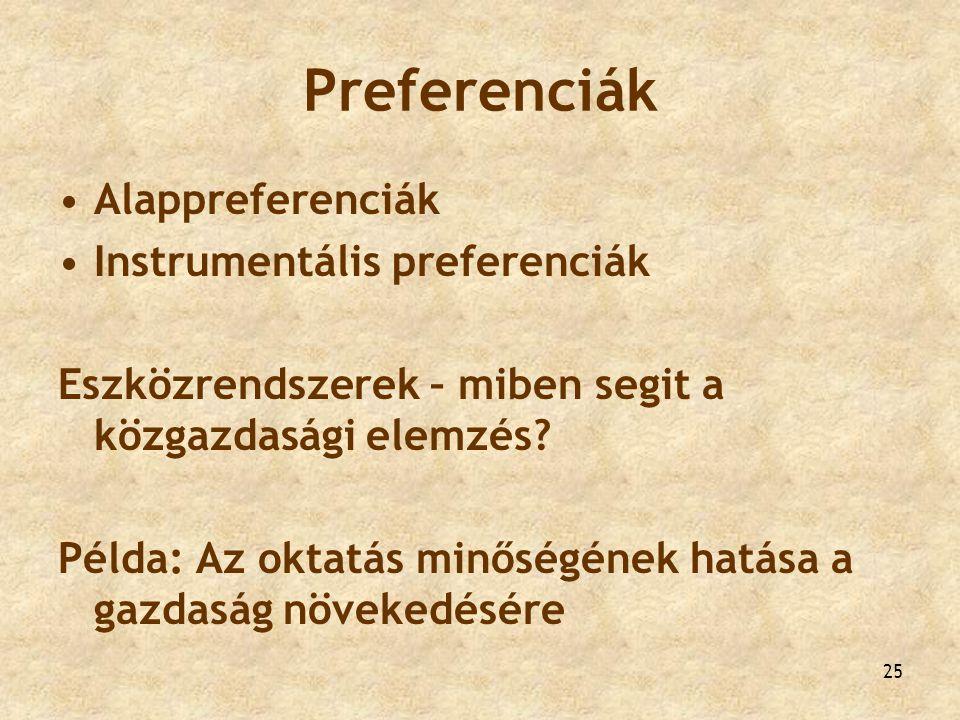 Preferenciák Alappreferenciák Instrumentális preferenciák Eszközrendszerek – miben segit a közgazdasági elemzés? Példa: Az oktatás minőségének hatása