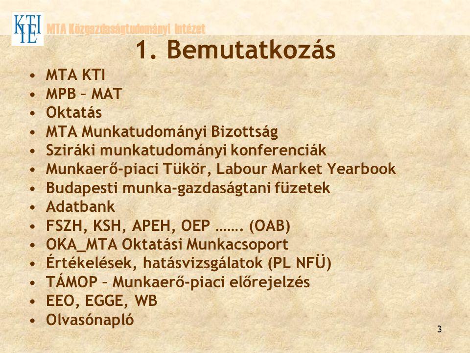 3 1. Bemutatkozás MTA KTI MPB – MAT Oktatás MTA Munkatudományi Bizottság Sziráki munkatudományi konferenciák Munkaerő-piaci Tükör, Labour Market Yearb
